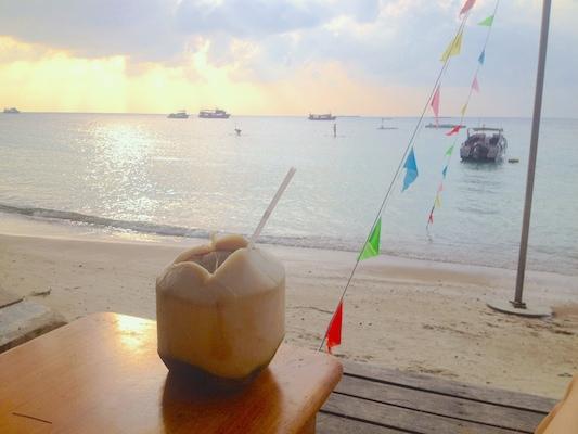 Jeg nyter en fersk kokosnøtt i en av strandstolene tilhørende Good Times Adventures sin restaurant på Koh Tao.