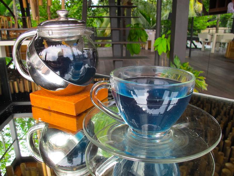 Bangkok Tree House serverer blå te laget av selvdyrkede blomster og urter.