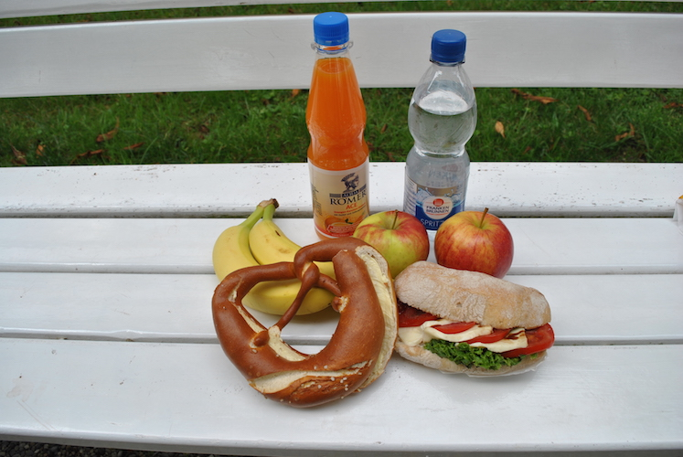 Vi hadde heldigvis tid til en kjapp lunsj i Schloss Weikersheims vakre hage!